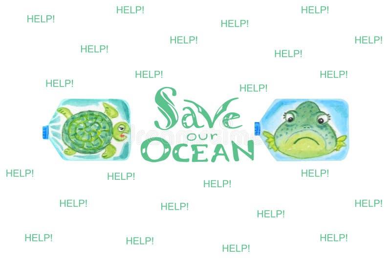 Os animais de mar tristes em umas garrafas plásticas são infelizes com poluição do oceano Inscrição salvo nosso oceano ilustração royalty free