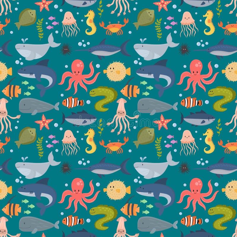 Os animais de mar vector o gráfico subaquático marinho da água da vida do aquário dos animais selvagens do oceano dos desenhos an ilustração royalty free