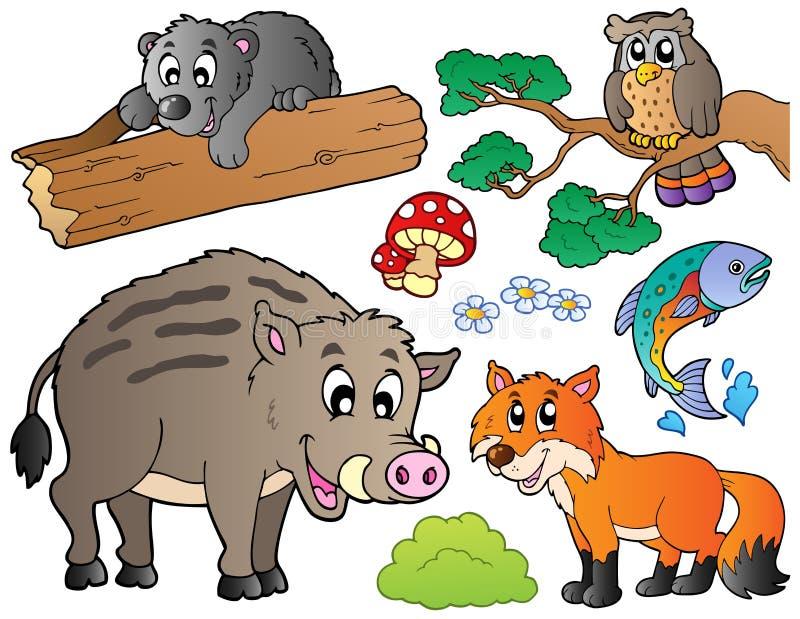 Os animais dos desenhos animados da floresta ajustaram 1 ilustração stock