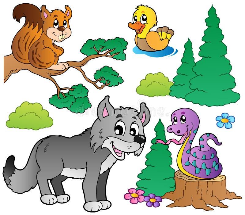 Os animais dos desenhos animados da floresta ajustaram 2 ilustração royalty free