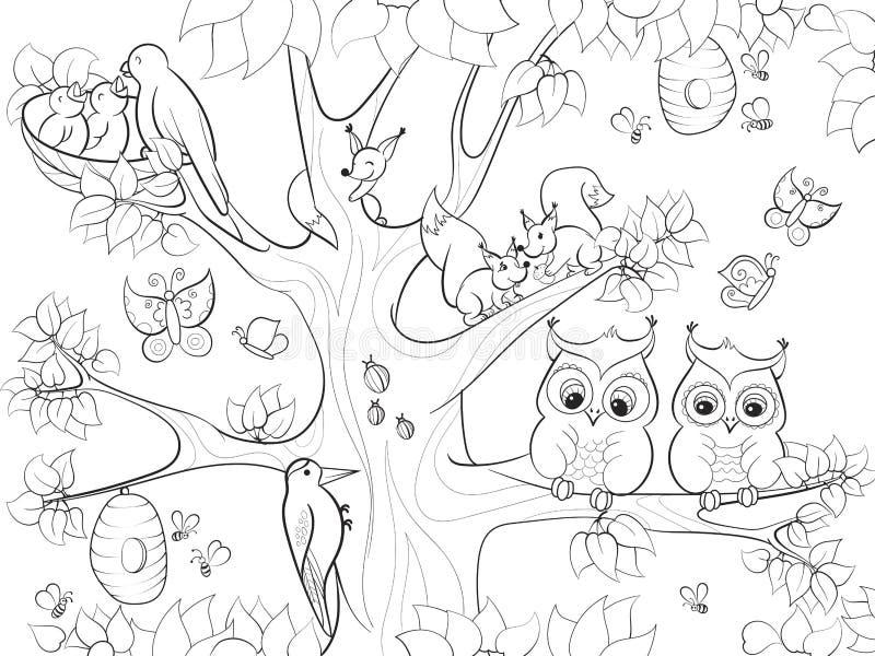 Os animais e os pássaros que vivem na coloração da árvore para desenhos animados das crianças vector a ilustração ilustração stock