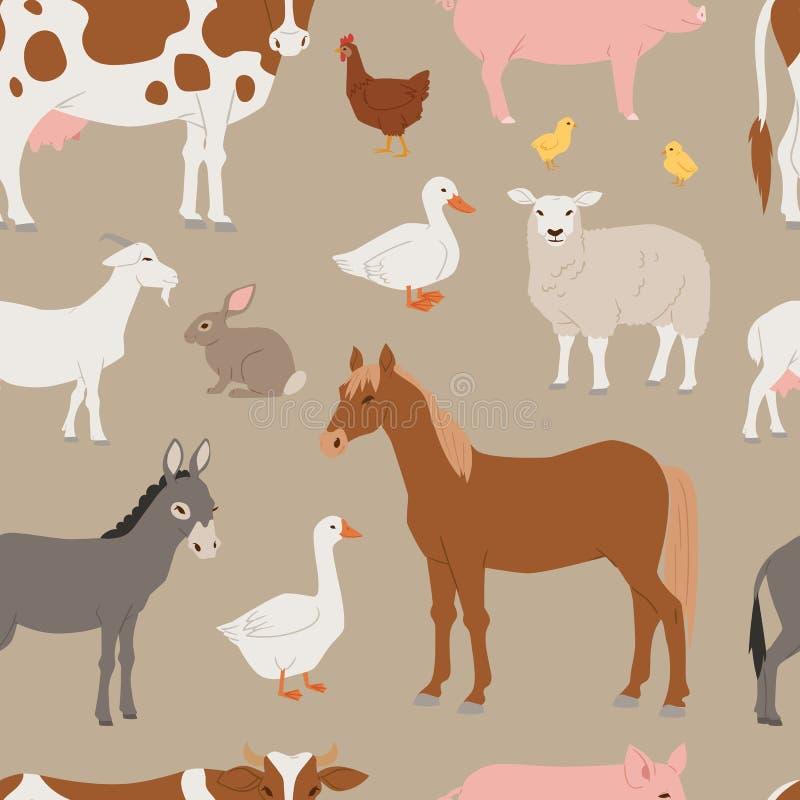 Os animais e os pássaros diferentes do vetor da exploração agrícola home gostam da vaca, carneiro, porco, teste padrão sem emenda ilustração stock