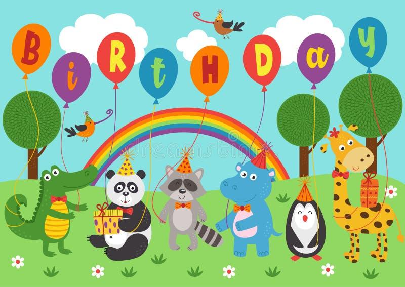 Os animais engraçados do cartaz mantêm o aniversário dos balões ilustração royalty free