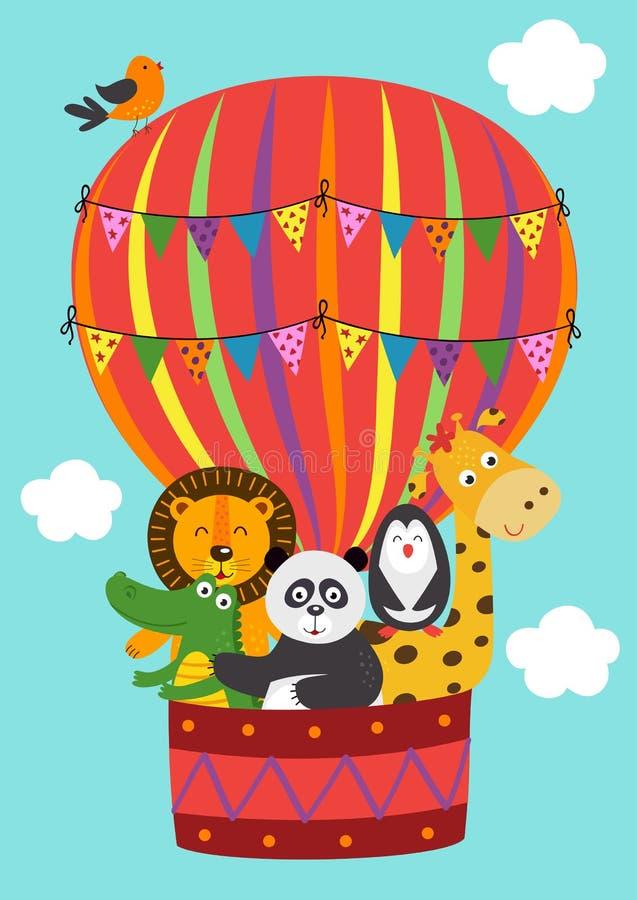 Os animais engraçados do cartaz voam em um balão ilustração do vetor