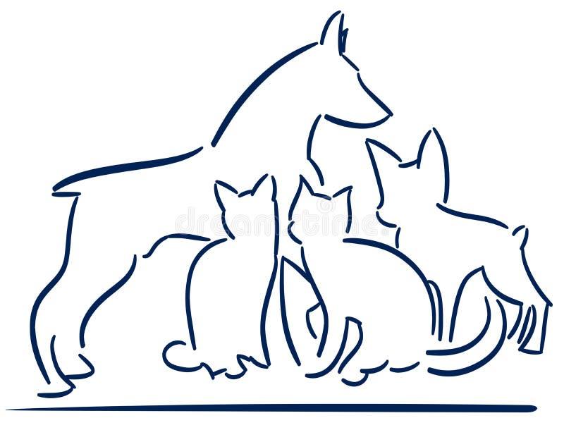 Os animais estilizados agradáveis isolaram o logotipo ilustração do vetor