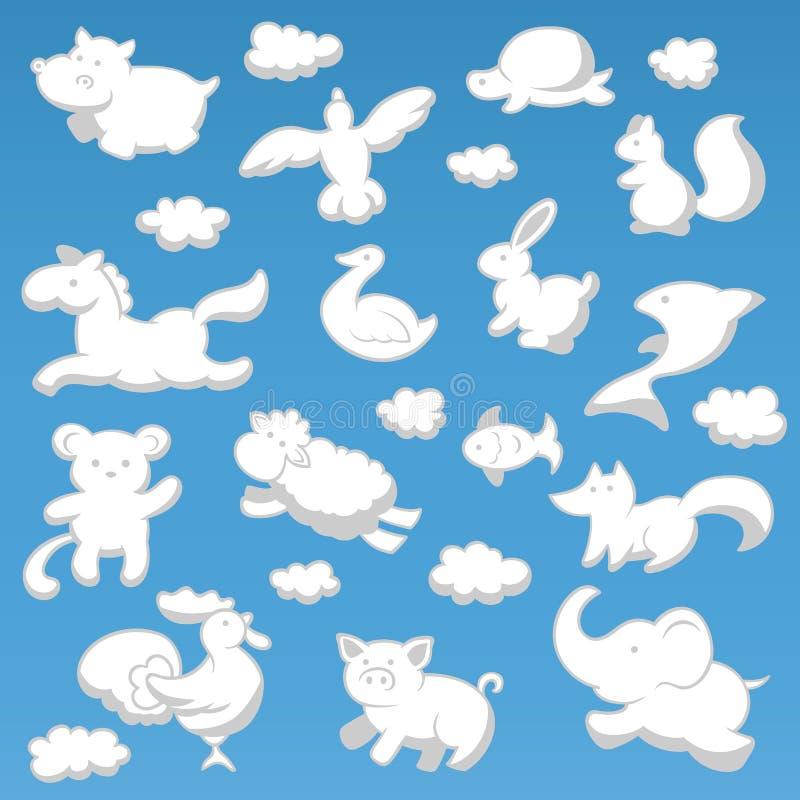 Os animais nublam-se a ilustração branca do vetor da cor da silhueta do estilo das crianças dos desenhos animados ilustração stock