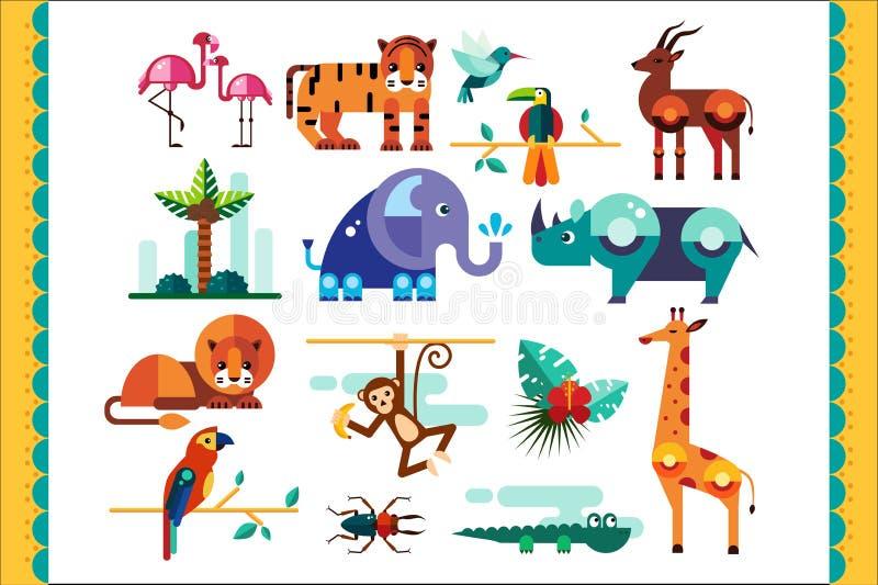 Os animais, os pássaros e as plantas da selva ajustaram-se, elementos tropicais do verão, flamingo, tigre, gazela, elefante, rino ilustração do vetor