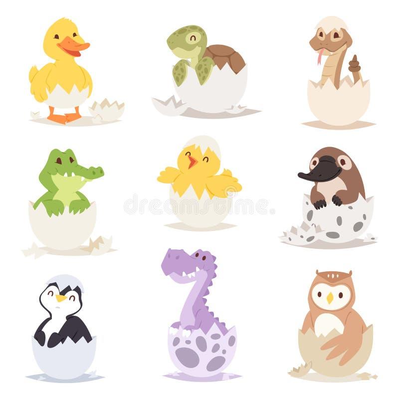 Os animais recém-nascidos bonitos nos ovos easter cultivam a criatura do feriado pouca vida e os jovens descascam o aniversário p ilustração stock