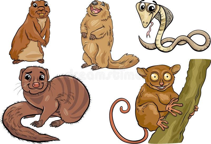 Os animais selvagens ajustaram a ilustração dos desenhos animados ilustração stock