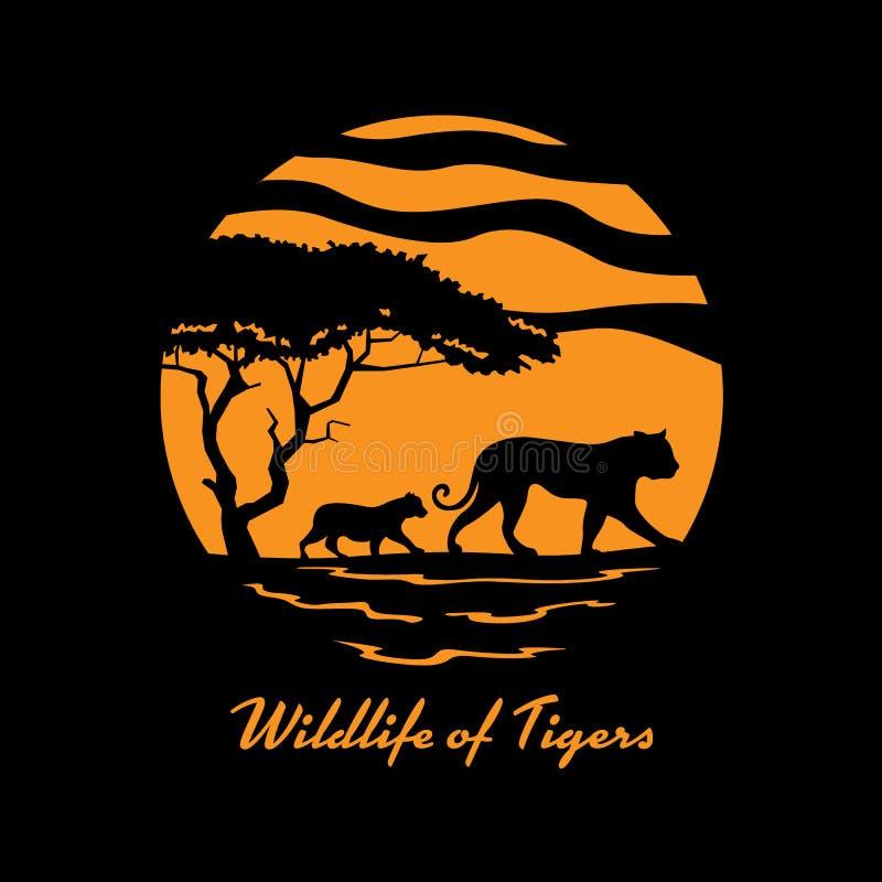 Os animais selvagens do tigre com família do tigre e a árvore no vetor do sinal da bandeira do círculo projetam ilustração stock