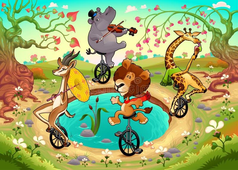 Os animais selvagens engraçados em unicycles estão jogando na madeira ilustração stock