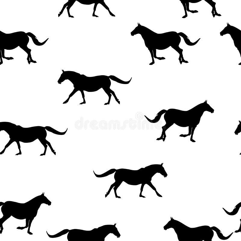 Os animais selvagens sem emenda modelam cavalos da silhueta no branco ilustração do vetor
