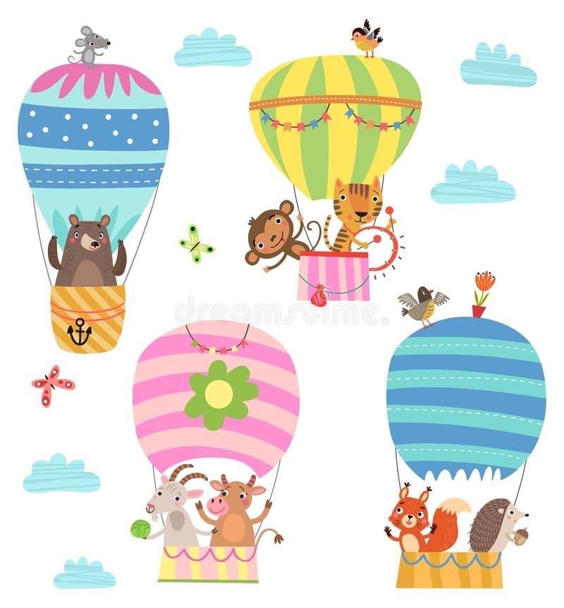 Os animais voam em um balão de ar quente Ilustração ilustração stock