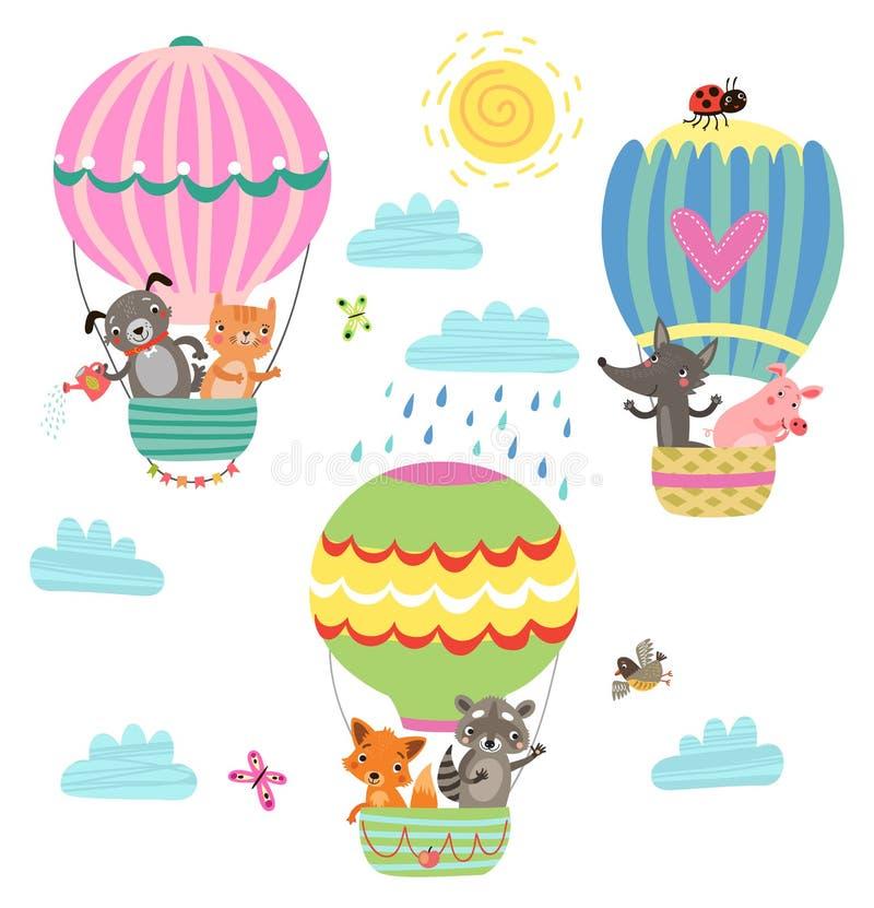 Os animais voam em um balão de ar quente Ilustração ilustração do vetor
