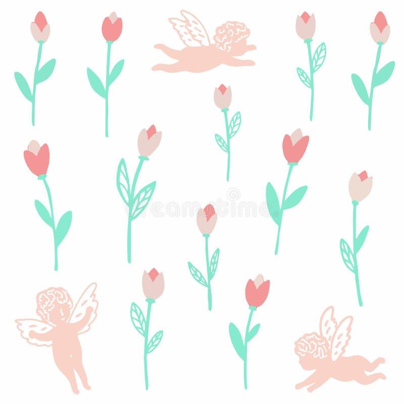 Os anjos voam no céu nas tulipas do rainwith ilustração royalty free