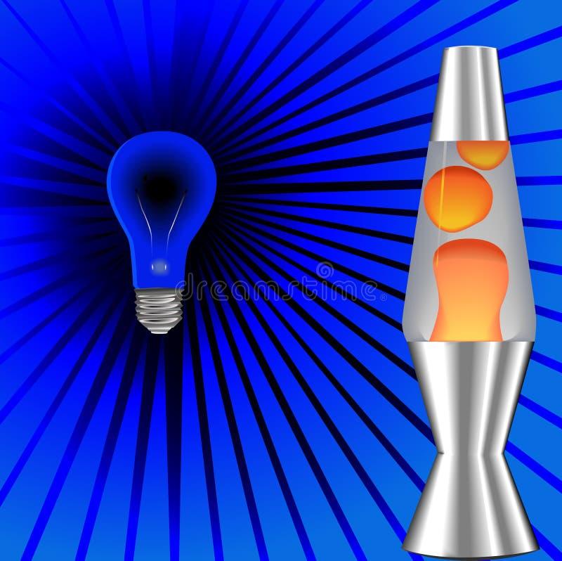 Os anos 70 psicadélicos da lâmpada da lava de Blacklight ilustração do vetor
