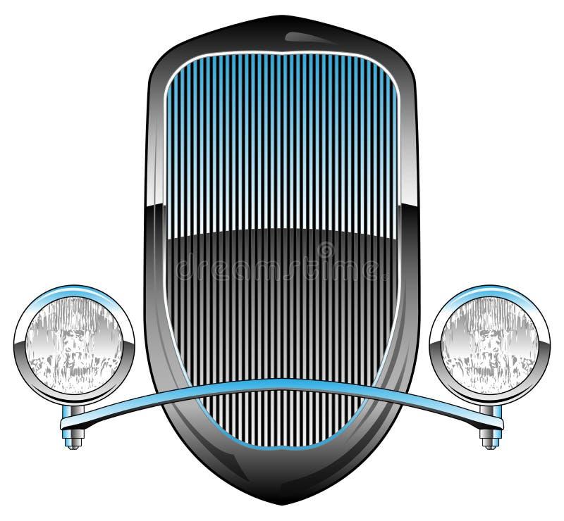 os anos 30 denominam Rod Car Grill quente com faróis e ilustração do vetor da guarnição de Chrome ilustração stock