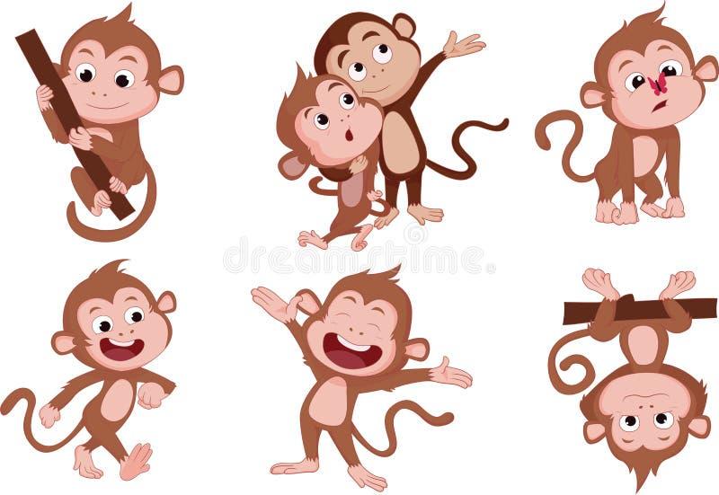 Os anos do macaco Grupo de macaco ilustração stock