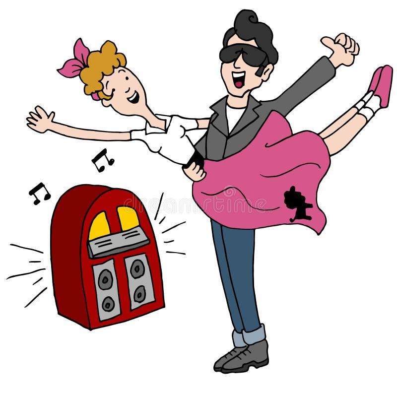 Os anos 50 do rock and roll do lúpulo da peúga que dançam pares ilustração do vetor