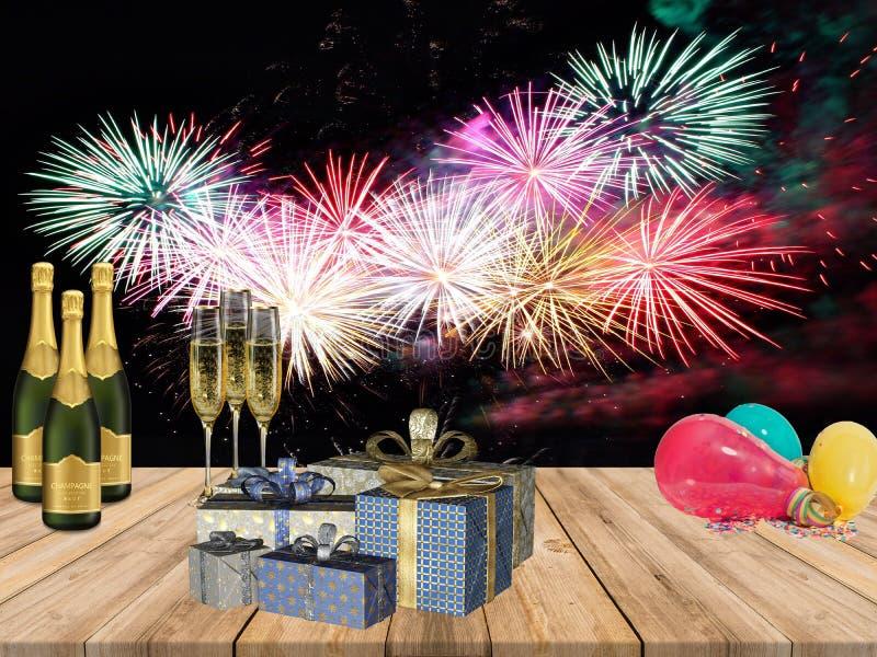Os anos novos da tabela do partido com champanhe bebem balões dos presentes e o fogo trabalha o fundo imagem de stock