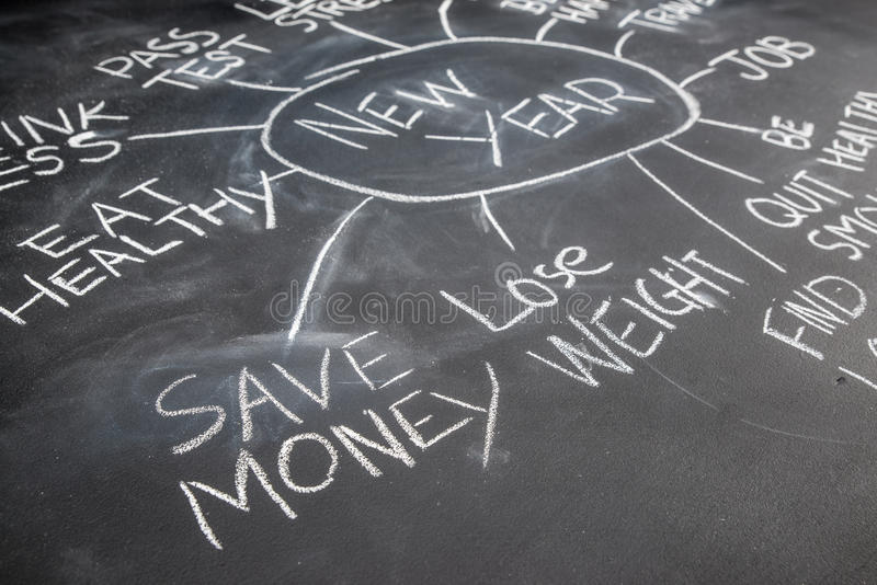 Os anos novos das definições em um quadro-negro, salvar o dinheiro imagem de stock