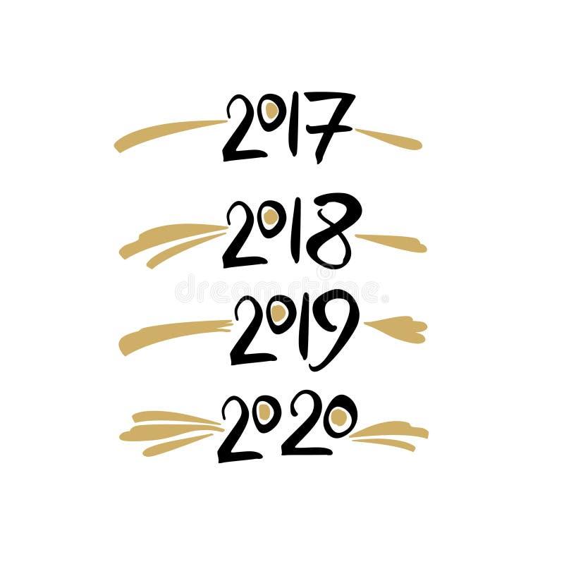 Os anos numeram o molde 2017 da escrita, 2018, 2019, 2020 ilustração royalty free