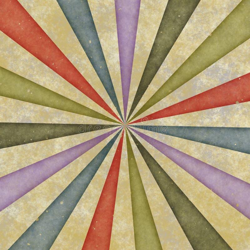 Os anos sessenta denominam o redemoinho sujo do sunburst ilustração stock