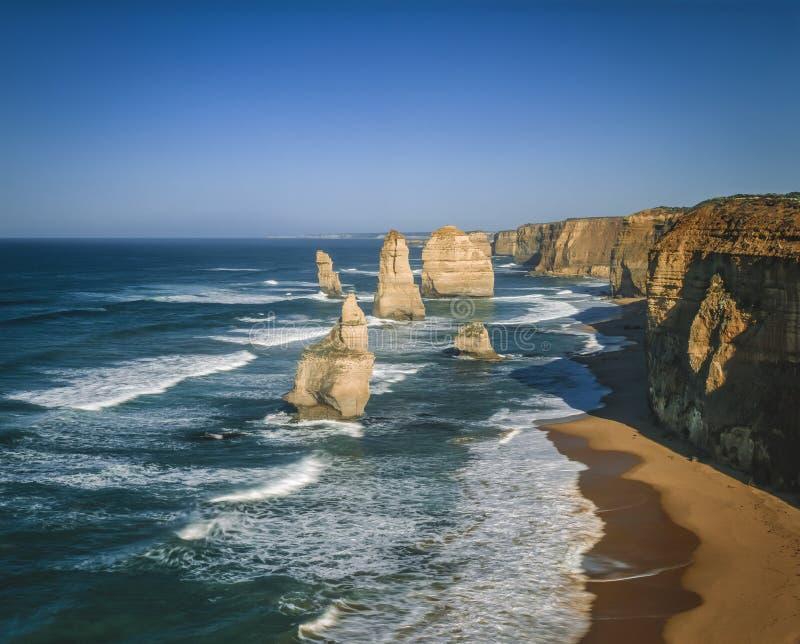 Os 12 apóstolos, costa do naufrágio, grande estrada do oceano, Victoria, Austrália fotos de stock royalty free