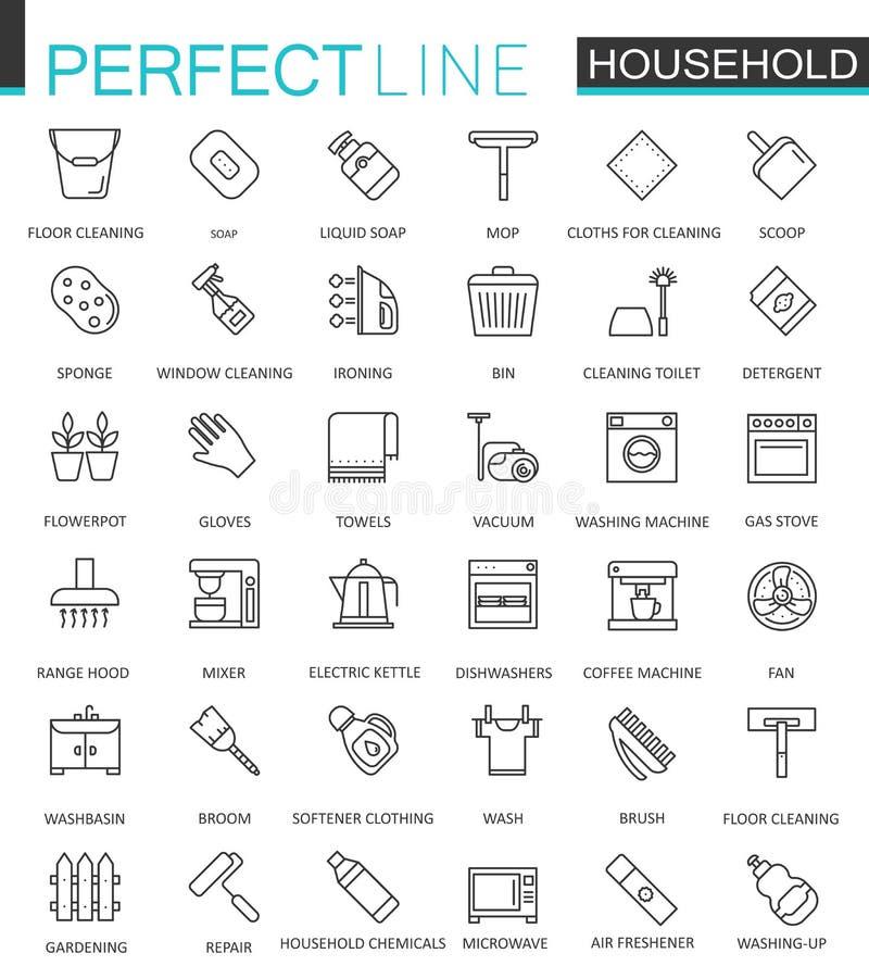 Os aparelhos eletrodomésticos diluem a linha ícones da Web ajustados Projeto do ícone do curso do esboço ilustração stock