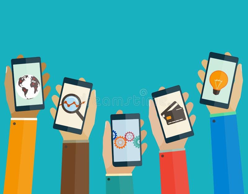 Os apps móveis lisos do conceito de projeto telefonam nas mãos dos povos ilustração do vetor