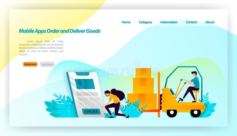 Os apps móveis pedem e entregam bens pedir pacotes da loja em linha é entregar para armazenar e consumidor equi do transporte ilustração do vetor