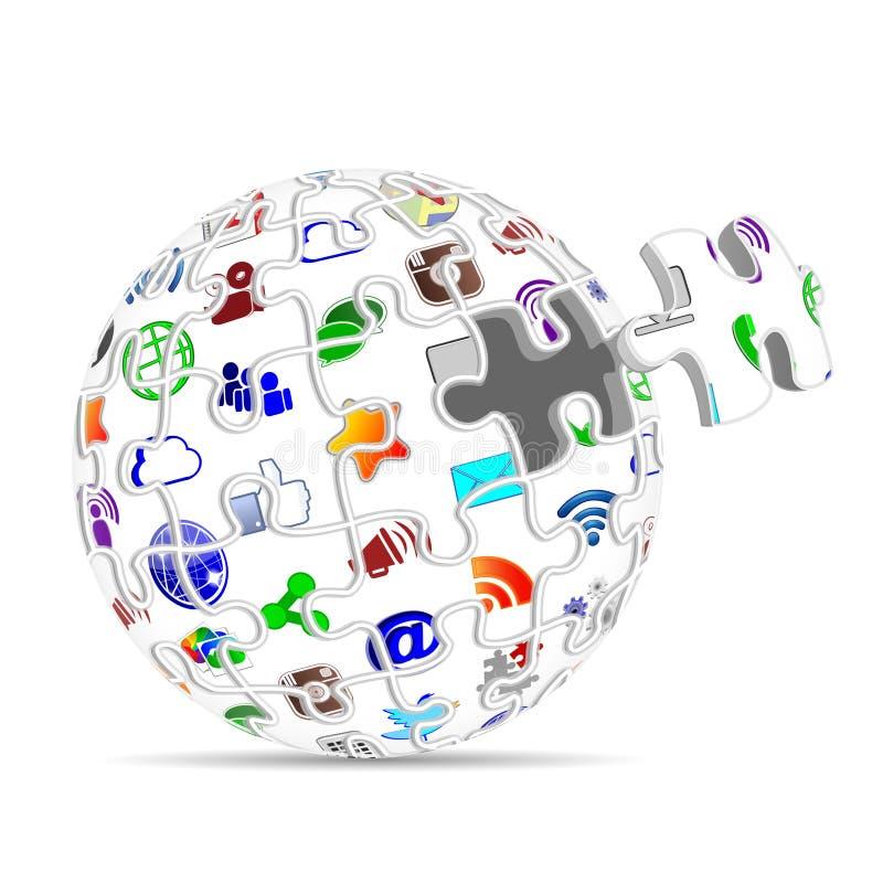 Os apps sociais dos ícones dos meios confundem o conceito da esfera ilustração royalty free