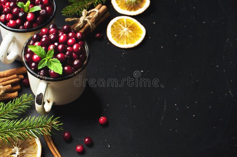 Os arandos vermelhos frescos em um copo branco, varas de canela, secaram círculos alaranjados, ramos spruce e cones em um fundo d imagens de stock royalty free
