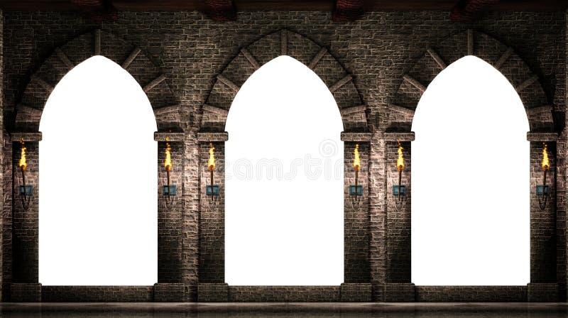 Os arcos medievais isolaram-se ilustração stock