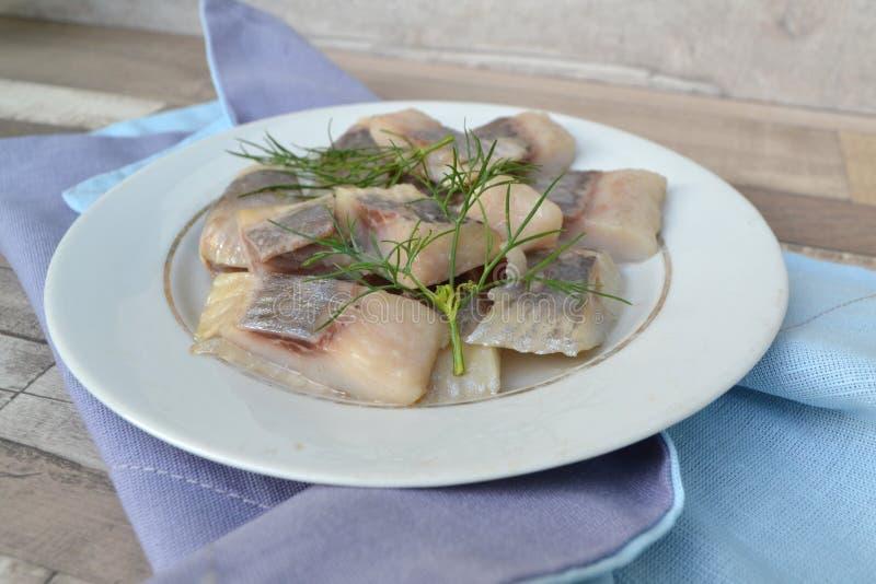Os arenques salgados dos peixes com aneto na placa branca rústica fotografia de stock royalty free