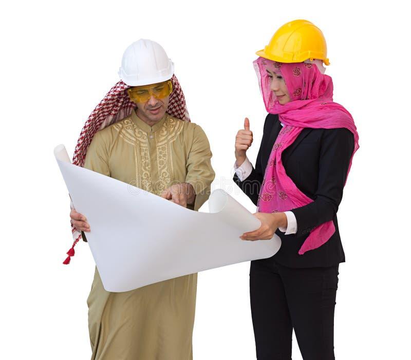 Os arquitetos árabes estão planejando o projeto novo Wi do fundo fotografia de stock royalty free
