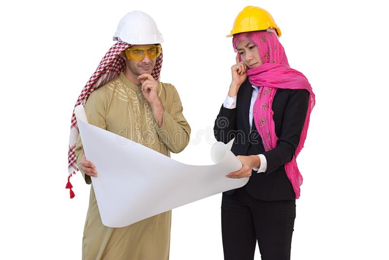 Os arquitetos árabes estão planejando o projeto novo wi isolados do fundo imagem de stock royalty free