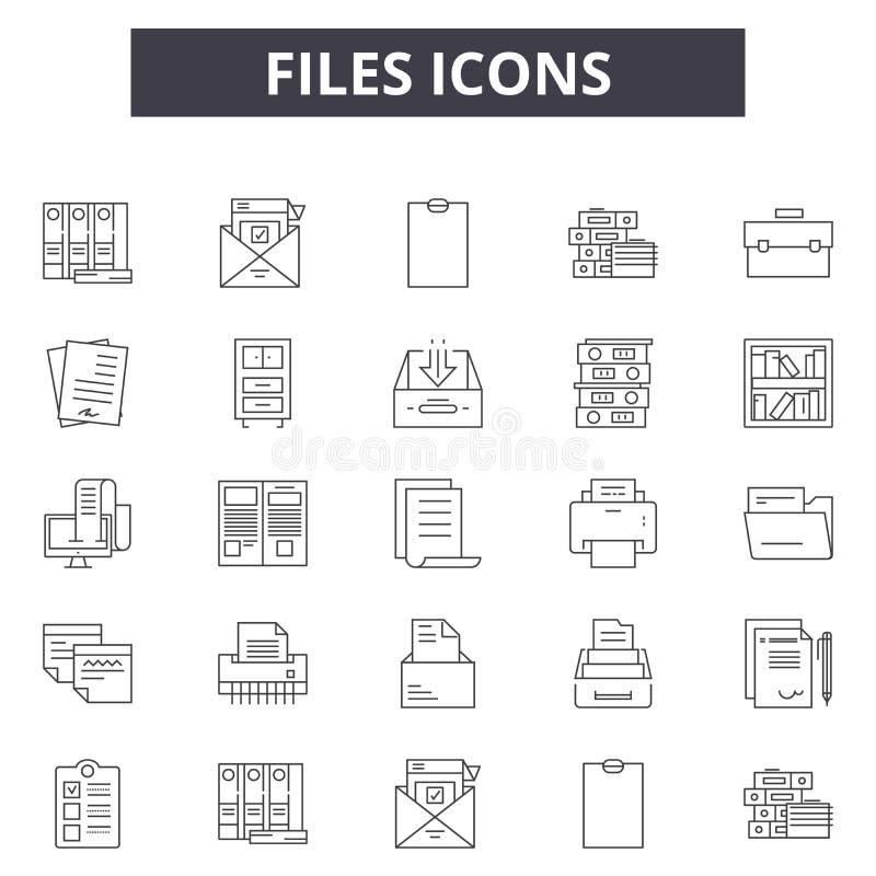 Os arquivos alinham ícones para a Web e o projeto móvel Sinais editáveis do curso Os arquivos esboçam ilustrações do conceito ilustração royalty free