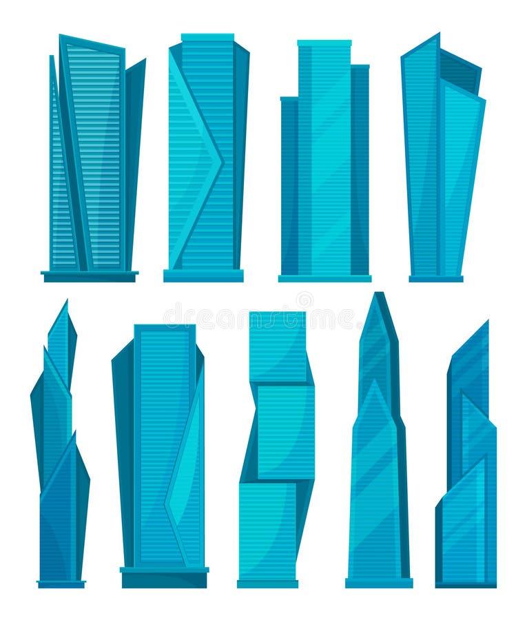 Os arranha-céus ajustaram-se, as construções residenciais modernas, elemento da ilustração urbana do vetor da paisagem em um fund ilustração royalty free