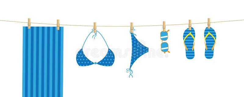 Os artigos azuis da praia penduram em um linho ilustração stock