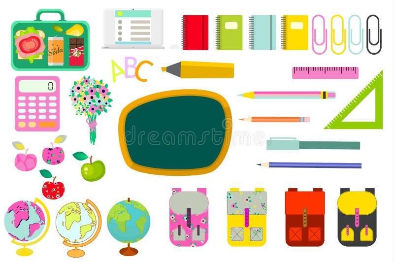 Os artigos de papelaria da escola fornecem objetos do clipart do vetor ilustração stock