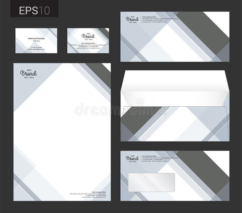 Os artigos de papelaria modernos ajustaram-se no formato do vetor, cabeçalho, carro do negócio ilustração royalty free