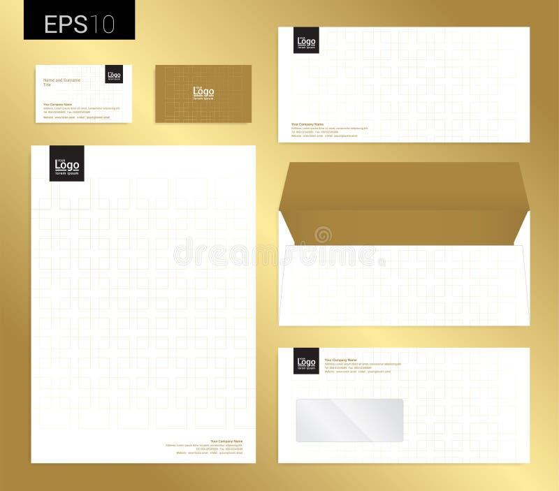 Os artigos de papelaria modernos ajustaram-se no formato do vetor, cabeçalho, carro do negócio ilustração stock