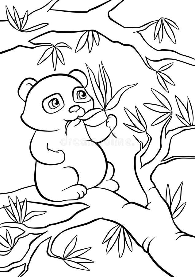 Os assentos da panda na árvore e comem as folhas ilustração do vetor