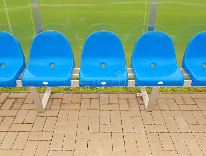 Nova Bench Download Part - 30: Download Os Assentos Plásticos Azuis Novos Em Jogadores Exteriores Do  Estádio Bench, Cadeiras Com Pintura