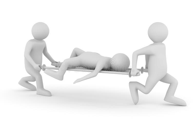Os assistentes de hospital transferem o paciente no esticador ilustração do vetor