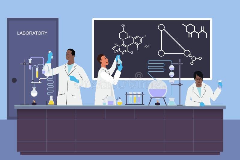 Os assistentes novos dos cientistas do laboratório trabalham no laboratório químico ou biológico médico científico que faz o veto ilustração do vetor
