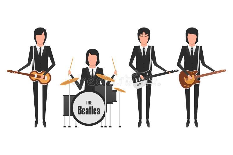 Os assuntos da faixa de Beatles ilustração stock