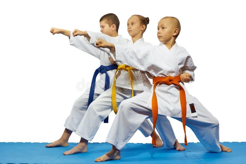 Os atletas das jovens crianças estão batendo o tsuki do gyaku do pontapé em um fundo branco fotografia de stock royalty free