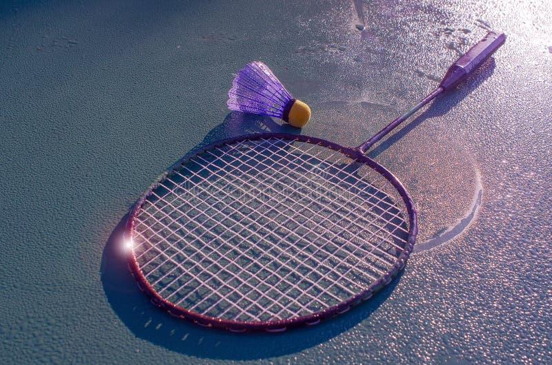 Os atributos exigidos para o badminton, instagram foto de stock royalty free